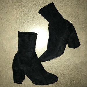 Sock Booties w/ chunky heel and rounded toe